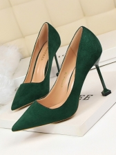 Korean Style Solid Suede High Heel Shoes