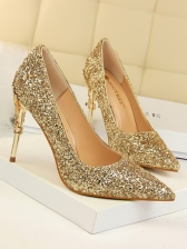 Pointed Toe Sequined Heels For Women