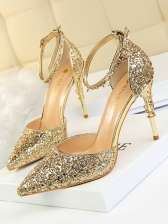 Fashion Sequined Pointed Toe Women Stiletto Shoes