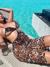Fashion Leopard Print Low V Neck Halter Dress