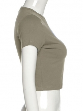 Crew Neck Fitted Cropped Short Sleeve T-Shirt