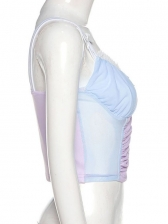 Camisole Gauze Ruched V Neck Sweet Tank Top