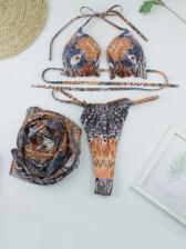 Leopard Print Sexy Three Pieces Bikini Sets