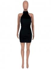 Suede Solid Backless Halter Short Dress