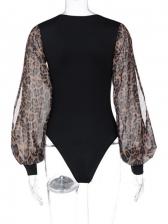 European Style Sexy Patchwork Leopard Print Bodysuit