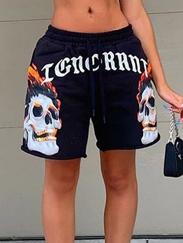 Personality Letter Print Short Pants Summer