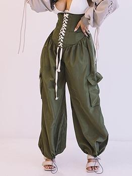 Fashion Lace-Up Women Wide Leg Pants