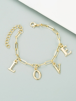 Trendy Simple Letter Alloy Material Bracelet
