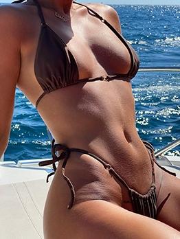 Swimming Sexy Backless V Neck Bikini Sets