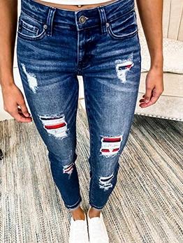 Chic Applique Denim Ladies Jeans