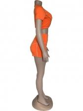 Sporty Reflective Short Sleeve 2 Piece Short Set