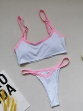 Sexy Thong Contrast Color Simple Tank Bikini Set