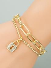 Korean Style Lock Rhinestone Lovers Bracelet