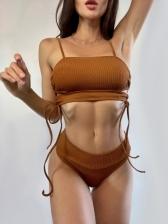 Beach Summer Simple Solid Pullover Tank Bikini