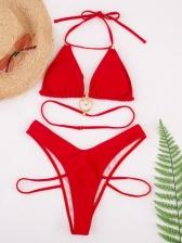 Solid Seductive Beach Women Two Pieces Bikini Set