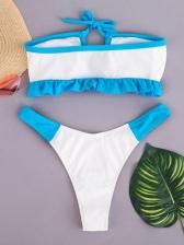 Contrast Color Off Shoulder Two Pieces Bikini Set