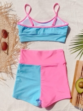 European Style Patchwork High Waisted Two Piece Swimsuit
