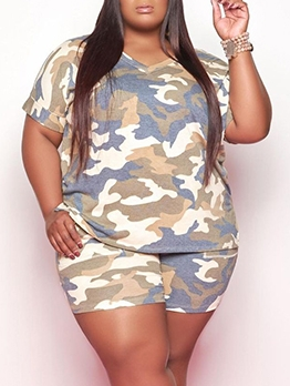 Summer Tie Dye Casual Plus Size Two Pieces Sets
