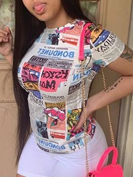 O Neck Newspaper Printed Ladies T Shirts