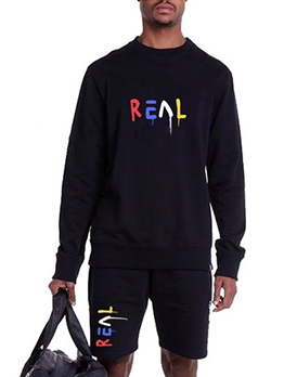 O Neck Letter Long Sleeve Mens Activewear