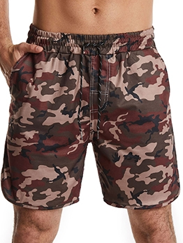 Casual Camouflage Drawstring Mens Short Sweatpants