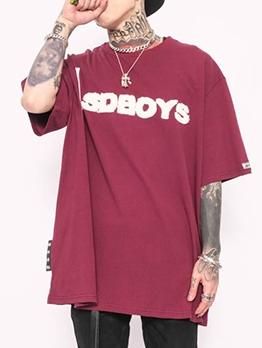 Flocking Letter Half Sleeve T Shirts For Men