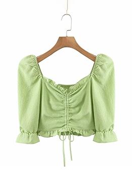 Sweet Solid V Neck Half Length T-Shirt