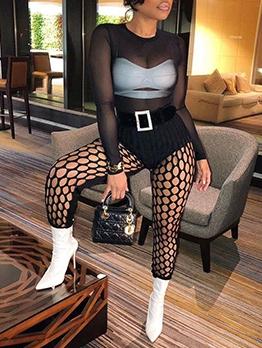 Sexy Mesh Nightclub Black Long Pants