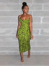Leopard Printed Spaghetti Strap Sleeveless Sheath Dress