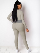 Skinny Patchwork Long Sleeve Jumpsuits For Women
