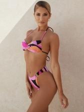 Color Block Printed Ladies Bikini Set