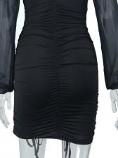 Gauze Ruched V Neck Solid Long Sleeve Dresses