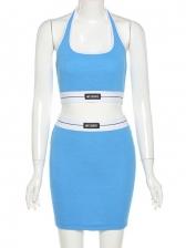 Euramerican Summer Fitted Halter Tank Top Skirt Sets