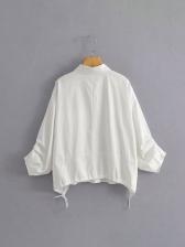 Spring Simple Solid Versatile White Blouse Women
