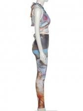 New Halter Print Sleeveless Pants Set