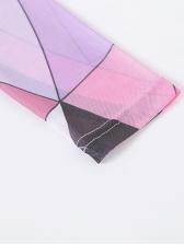 Colorful Print Mock Neck Skinny Yoga Romper