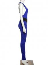 Contrast Color High Waist Sleeveless Jumpsuit