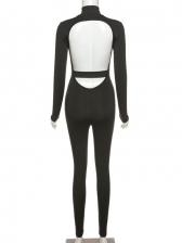 Fitness Backless Mock Neck Long Sleeve Jumpsuit