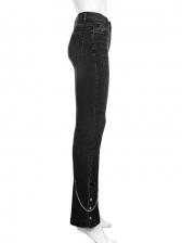 Mid Waist Black Patchwork Skinny Jeans
