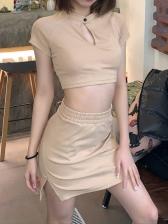 Solid Cropped Short Sleeve Skirt Sets