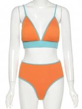 Contrast Color Sexy Tank Bikini Summer