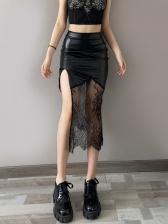 Irregular Pu Lace Patchwork Midi Skirt