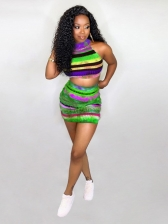 Colorful Striped Print Two Piece Skirt Sets