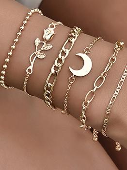 Korea Style Solid Rose Moon Bracelet Sets