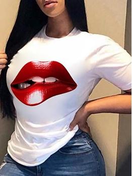 Cute Lips Printed Ladies T Shirts