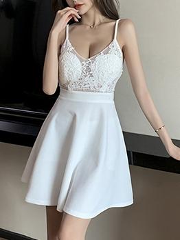 Lace Patchwork V Neck Solid Camisole Dress