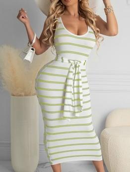 Casual Striped Vacation U Neck Sleeveless Dress