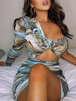 Sexy One Shoulder Print Mini Dress
