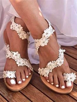 Euro Round Toe Stereo Flower Ladies Sandal
