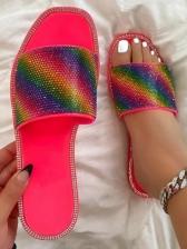 Colorful Rhinestone Decor Beach Womens Slippers